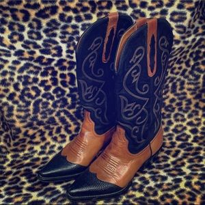 Nine West Black/Brown Leather Cowboy Boot Sz. 6